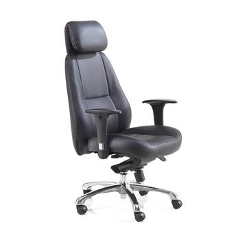 Cardiff office chair, high back, black leather
