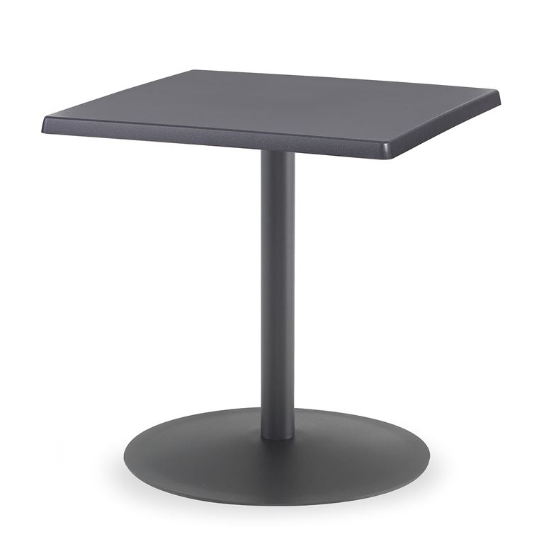 Kwadratowy stół kawiarniany, Blat: Topalit, antracyt, Stelaż Czarny