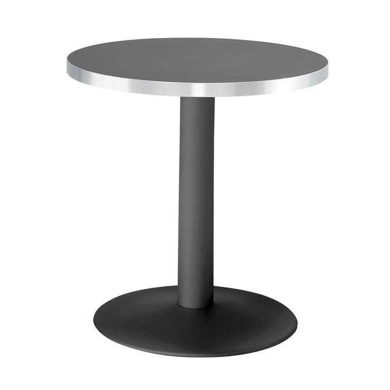 Okrągły stół kawiarniany z laminatu w kolorze czarnym oraz stelażem czarnym