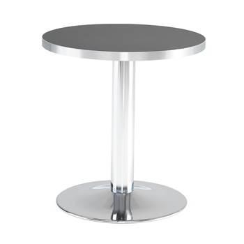 Kafébord, rundt, bordplate i svart laminat, Ø700 mm, søylestativ