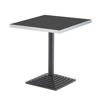 #sv Cafébord med svart stativ och 70x70 tjock melaminskiva