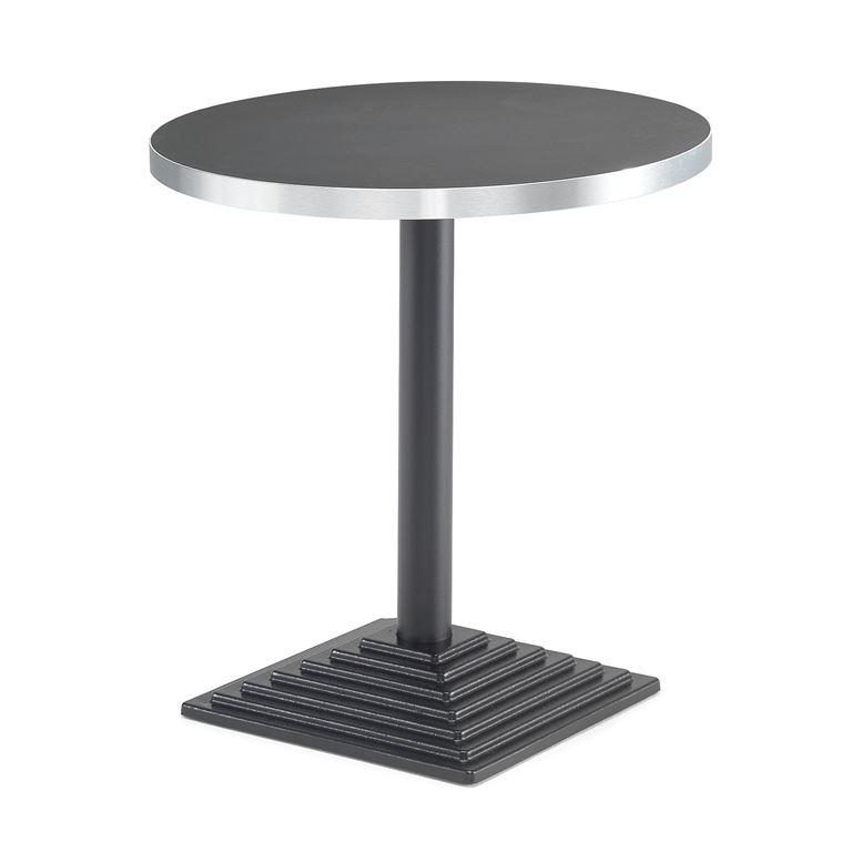 Okrągły stół z aluminiową krawędzią. Blat:, Czarny