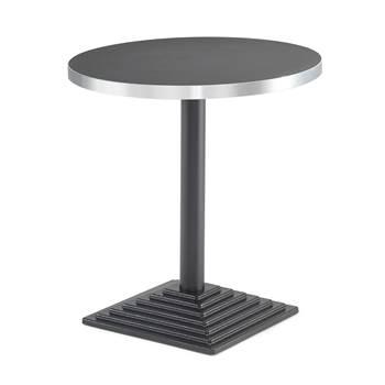 Runt cafébord, Ø700mm, svart laminat, svart gjutjärnsfot
