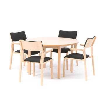 Canteen package deal, Ø 1200 mm beech table + 4 chairs