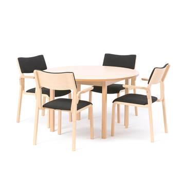 Lunchrumsgrupp: 1 bord, Ø1200 mm, bok, 4 stolar, bok/svart tyg