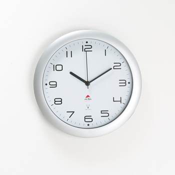 Wall clock ø 30 cm white face/silver frame, radio controlled, silent clock