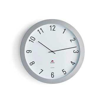 Large wall clock, Ø 600 mm, white, silver