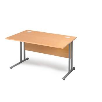 Skrivbord Flexus med rak skiva och insynsskydd, 1200x800 mm, boklaminat