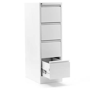 Mappskåp, A4, 4 lådor, höjd: 1320 mm, vit