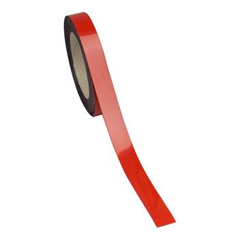 Magnetic easy wipe racking strip, 20x10000 mm, red
