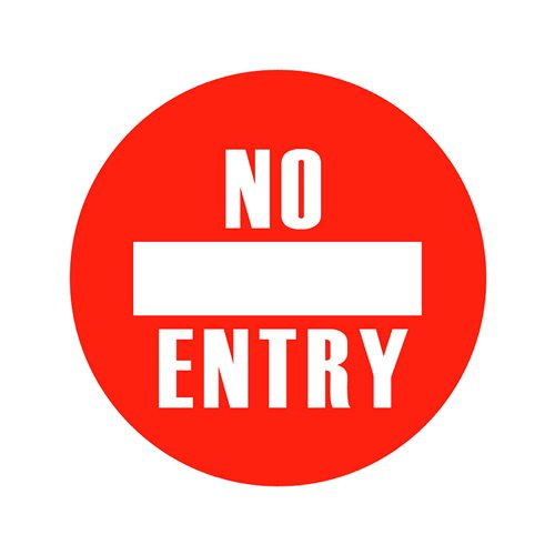 Graphic floor sign: No entry