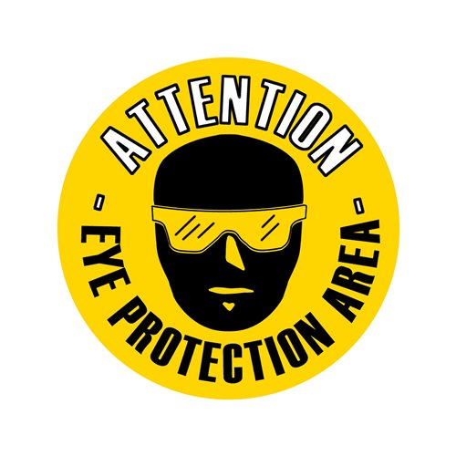 Graphic floor sign: Eye protection