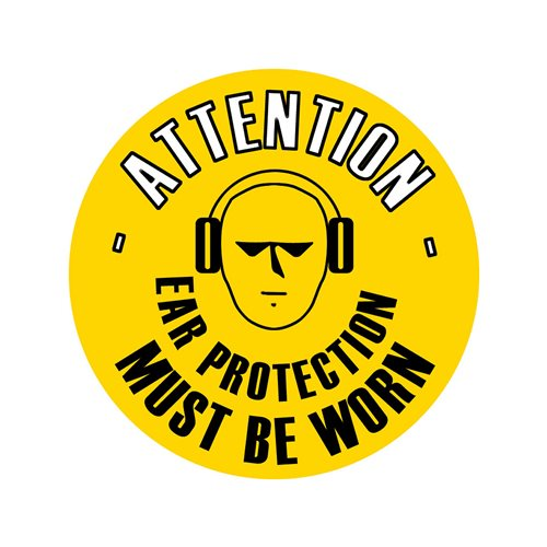 Graphic floor sign: Ear protection