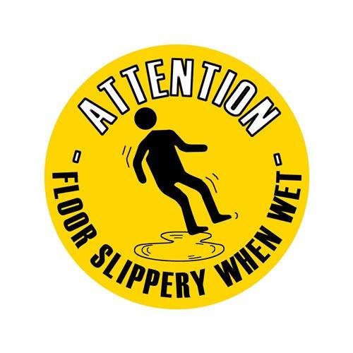 Graphic floor sign: Floor slippery