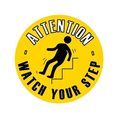 Graphic floor sign: Watch your step
