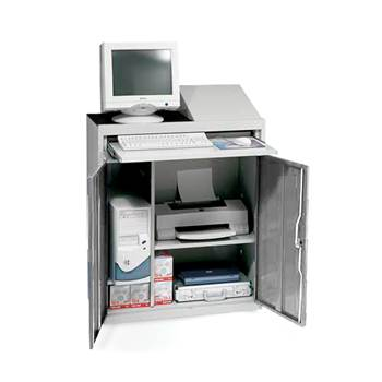Compact computer workstation, light grey