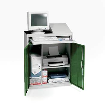 Compact computer workstation, green