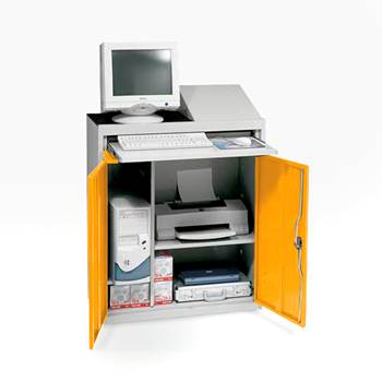 Compact computer workstation, yellow