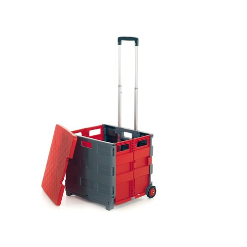 Folding box trolley with lid: grey/red