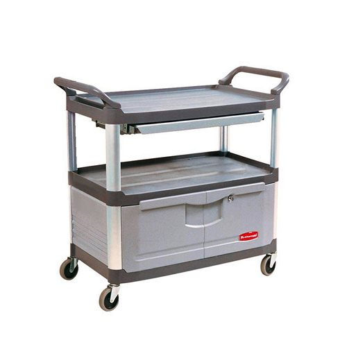 Utility trolley: 2 shelves: drawer+cabinet