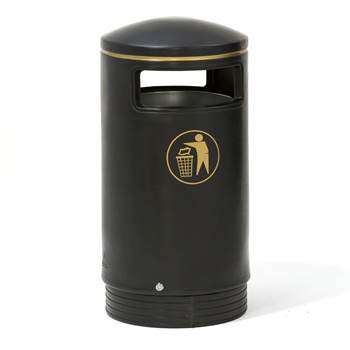 Indoor & outdoor hooded top bin, Ø 485x1000 mm, 75 L, Victorian black