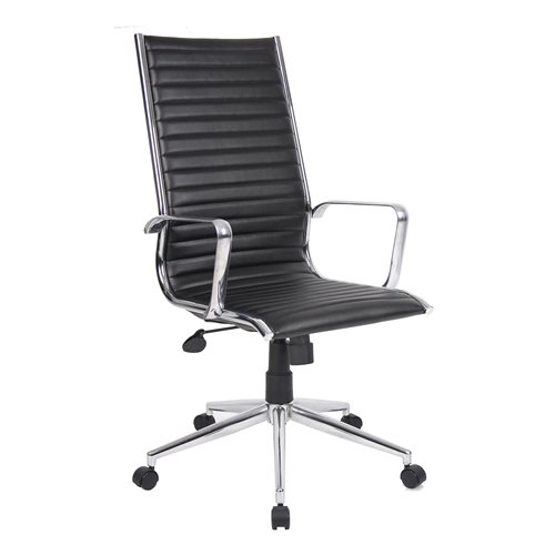 """Bari"" high back leather office chair: black"