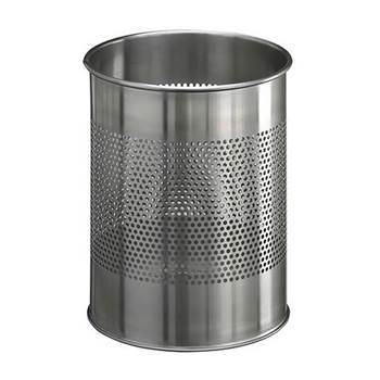 Round waste bin: stainless steel: 15L