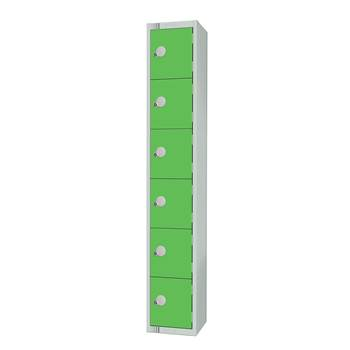 Elite locker, 6 door, 1800x300x300 mm, green