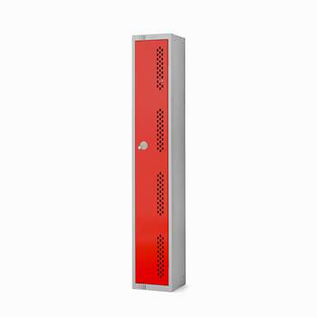 Elite perforated locker, 1 door, 1800x300x300 mm, red