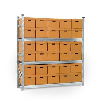 Archive shelving with boxes, basic unit, 3 shelves, 1972x1877x550 mm