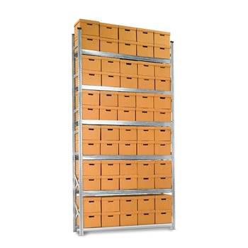 Archive shelving with boxes, basic unit, 6 shelves, 3424x1877x550 mm