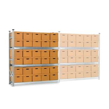 Archive shelving with boxes, add-on unit, 3 shelves, 1972x1877x550 mm