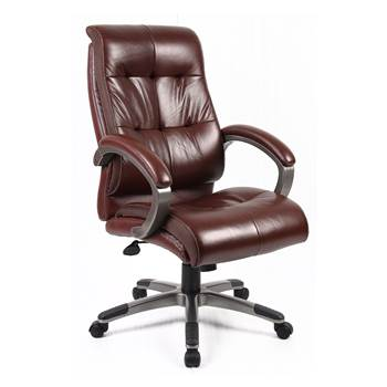 """Catania"" brown leather-faced manager's chair"