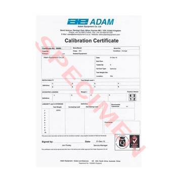 Standard Calibration Certificate for hanging scales
