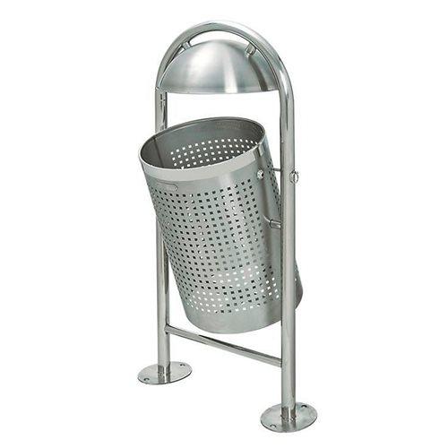 Tipping stainless steel litter bin