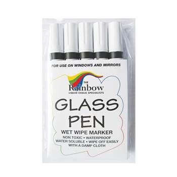 Narrow tip wetwipe glassboard pens: white (5pcs)