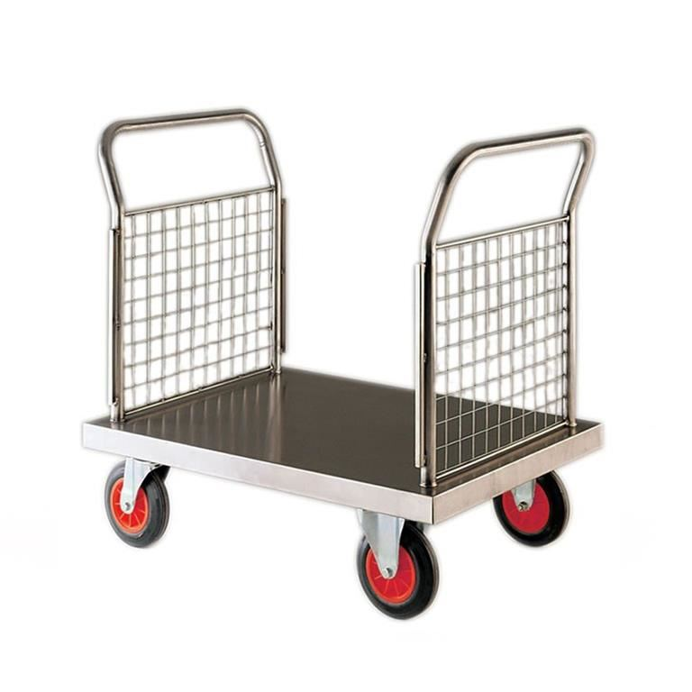 Stainless steel platform trolley: 2 mesh ends
