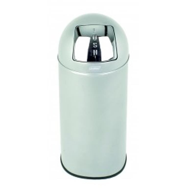 40L push refuse bin: brushed stainless steel