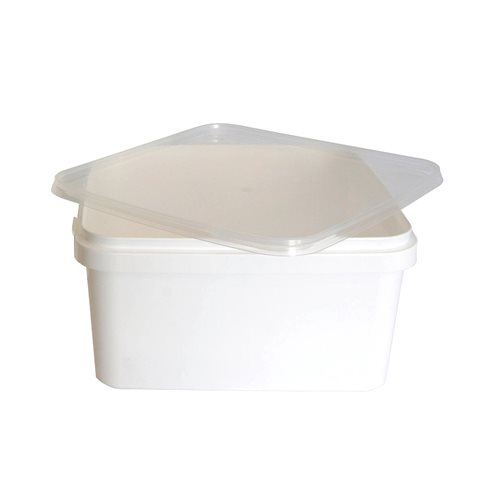 Square plastic tub with lid