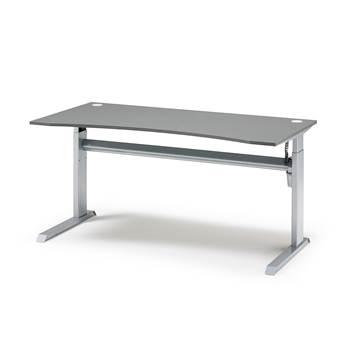 Elektrisk Hev Senk Skrivebord med Mageuttak, Bredde (mm):800, Grå Laminat, Lengde (mm):1600
