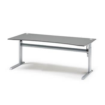 Flexus standing desk, wave, 2000x1000 mm, grey laminate