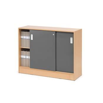 Skåp Flexus med skjutdörrar, 925x1200x415, bok, grå