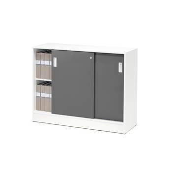 Skåp Flexus med skjutdörrar, 925x1200x415, vit, grå