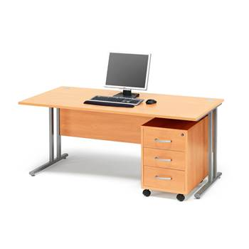 Package deal: Flexus desk, 1600x800 mm, pedestal with 3 drawers, beech lami