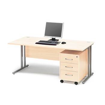 Package deal: Flexus desk, 1600x800 mm, pedestal with 3 drawers, birch lami