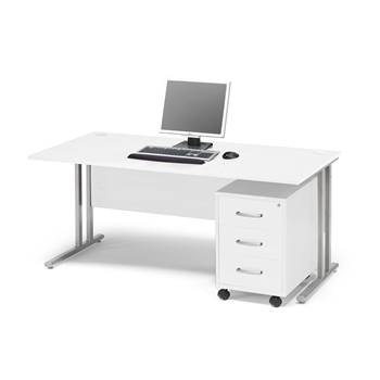 Package deal: Flexus desk, 1600x800 mm, pedestal with 3 drawers, white lami