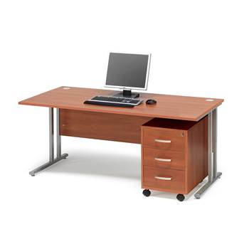 Package deal: Flexus desk, 1600x800 mm, pedestal with 3 drawers, calvados l
