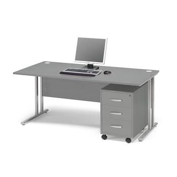 #en Package deal: Flexus desk, 1600x800 mm, pedestal with 3 drawers, grey l