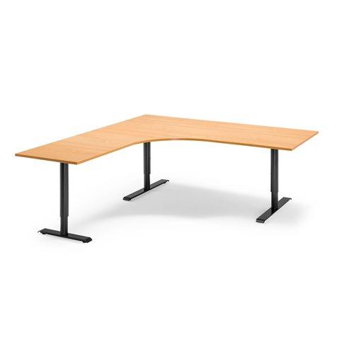 Kulmatyöpöytä, vasen, manuaalinen, 1800x2000 mm, pyökkilaminaatti, musta