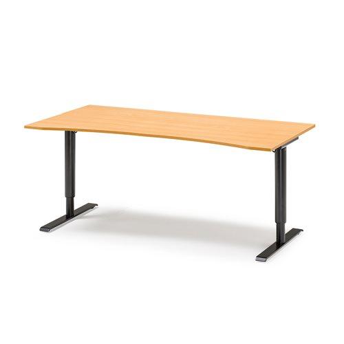 Työpöytä, syvennyksellä, manuaalinen, 1800x900 mm, pyökkiviilu, musta